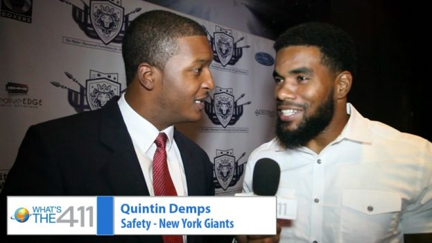 What's The 411Sports reporter Chris Graham chatting with New York Giants safety Quintin Demps at the launch of the Walter Thurmond Foundation for Arts and Education