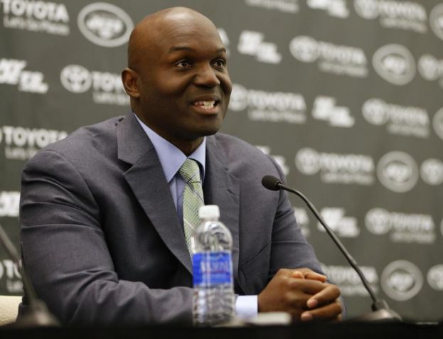 Todd Bowles, New York Jets new head coach, addressing the media.