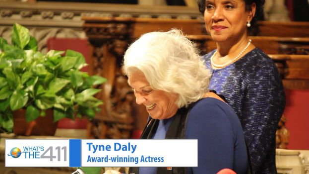 Award-winning actress Tyne Daly reading the words of the legendary Ruby Dee. Tony award-winning actress Phylicia Rashad is in the background