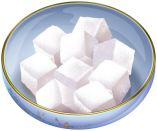Bowl of sugar cubes