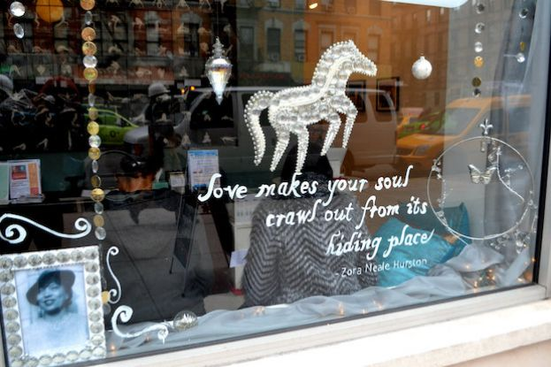 Zora Neale Hurston photo and quote dazzles in Harlem's Yoga Land's holiday window display