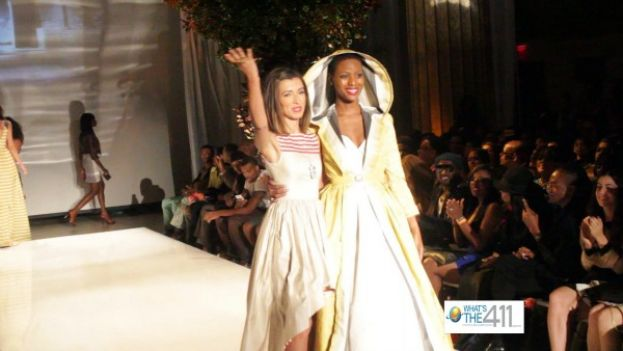 Actress and fashion designer, India de Beaufort, walks the runway with one of her models