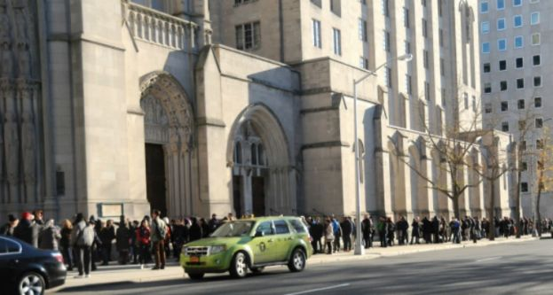 Crowd outside Riverside Church awaiting entry for the Dr. Cornel West - Bob Avakian Dialogue on Saturday, November 15, 2014