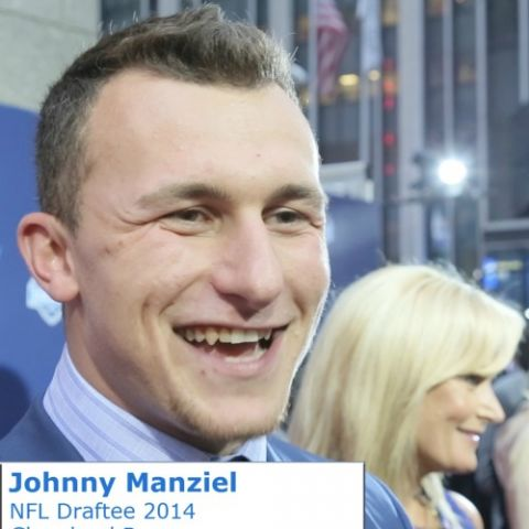 NFL Draftee Johnny Manziel talking with What's The 411 reporter Glenn Gilliam on the red carpet at the NFL Draft