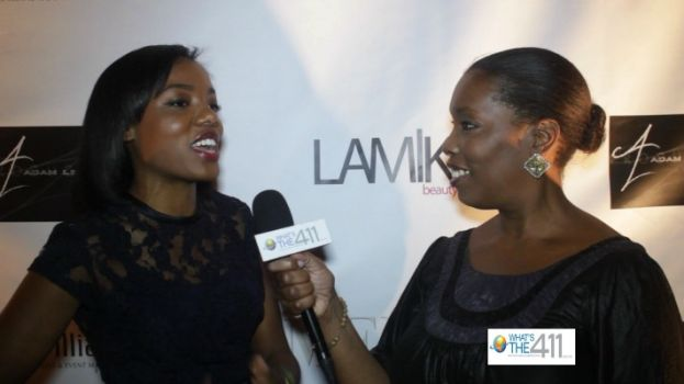 Fashion designer Taneasha Prunty talking with What's The 411TV correspondent Barbara Bullard