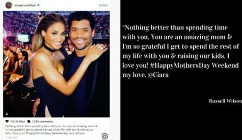 Russell Wilson Posts Sweet Mother's Day Note to Ciara on Instagram