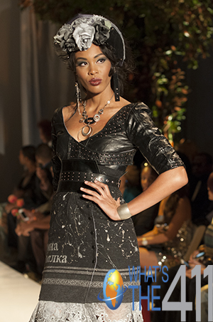 New York Fashion Week model in black Middle Eastern-inspired dress designed by India de Beaufort