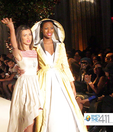Designer India de Beaufort with model at New York Fashion Week show