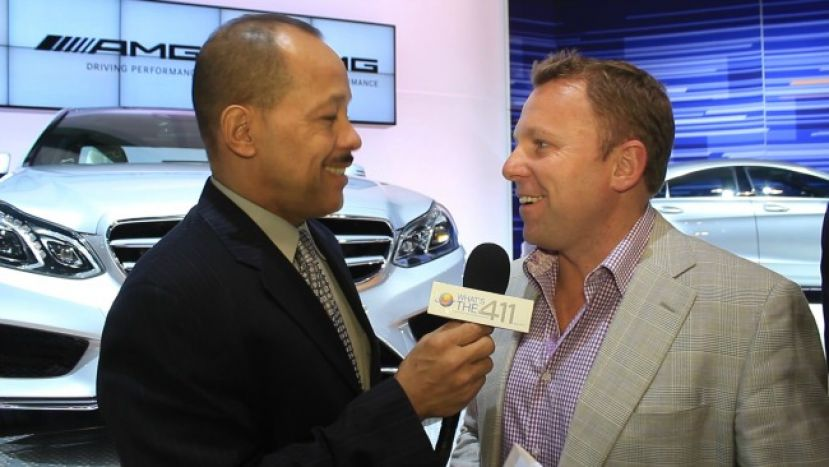 NBC Sports motor sports commentator Leigh Diffey talking with Andrew Rosario at the 2013 New York International Auto Show