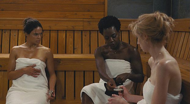 Photo (left to right: Michelle Rodriguez, Viola Davis, and Elizabeth Debicki in the movie Widows