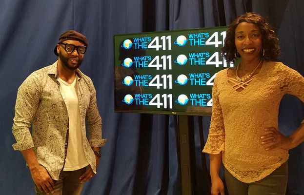 RnB/pop artist Carl Brister (l) and What's The 411 host, Kizzy Cox in the studio taking a moment for photos after Carl's interview