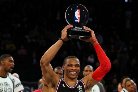 Oklahoma City Thunder guard Russell Westbook holding 2015 NBA All-Star Game MVP trophy