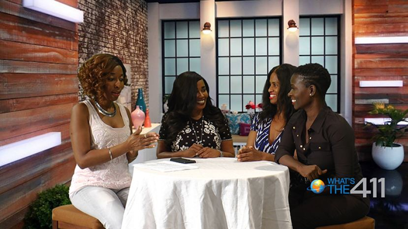 Author and self-made millionaire, Katrina Walker (second from left), talking with What's The 411's hosts, Kizzy Cox (left); Onika McLean (right), and Keisha Wilson (second from right)