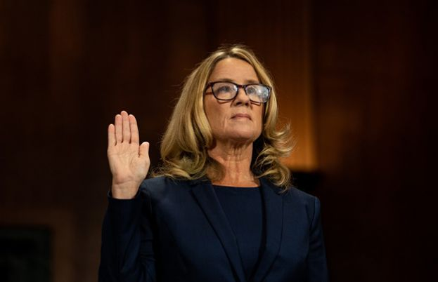 Dr. Christine Blasey Ford affirming to tell the truth at a US Senate Judiciary Committee hearing on September 27, 2018