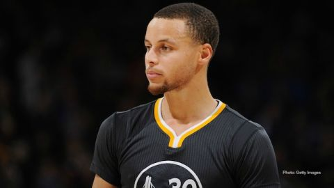 Stephen Curry, Golden State Warriors guard, playing for the West at the 2015 NBA All-Star Foot Locker Three-Point Contest