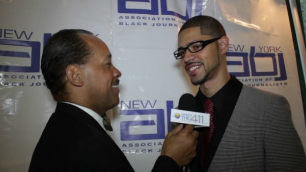 Michael J. Feeney (r), former president of the New York Association of Black Journalists talking with What's The 411TV reporter, Andrew Rosario. Michael Feeney passed away on January 31, 2016, at age 32.