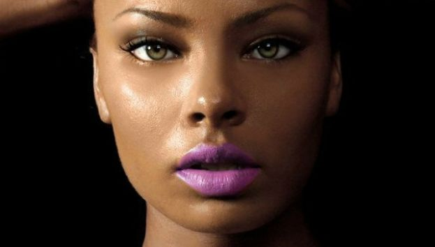 Eva pigford wearing a deep lavendar lipstick color that is trending in Fall 2015