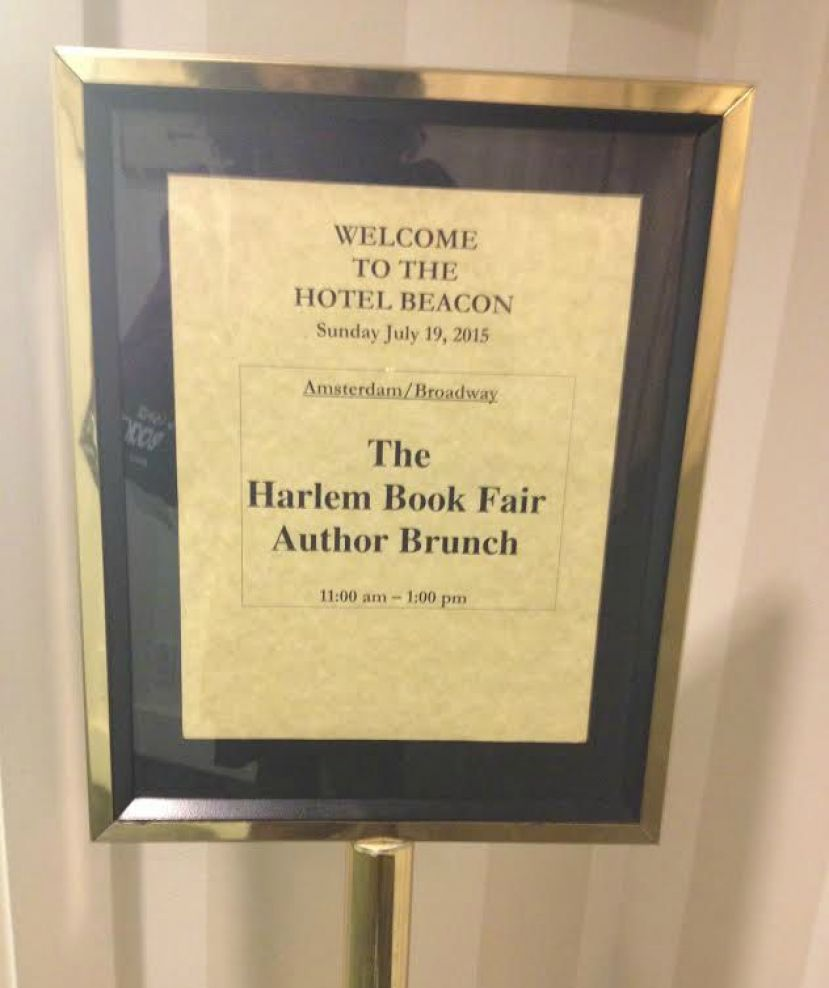 Harlem Book Fair Invitational Author Brunch welcome sign