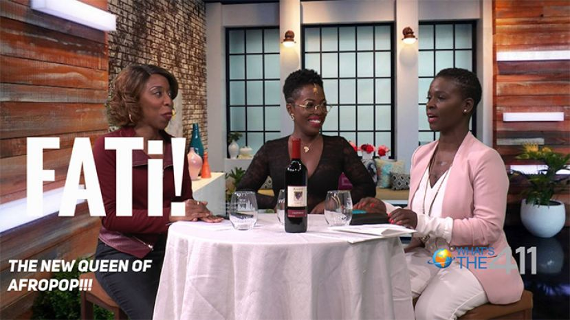 The new queen of Afropop, FATi (center), talking with award-winning journalist, Kizzy Cox, and comedian Onika McLean on the set of What's The 411.