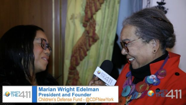 Marian Wright Edelman, President and Founder, Children's Defense Fund; talking with What's The 411TV's Courtney Rashon
