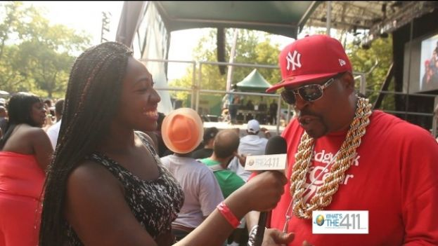 What's The 411TV correspondent Cristina Twitty chatting with hip-hop pioneer Grandmaster Caz at 40 Years of Hip-Hop Concert in Central Park, New York City