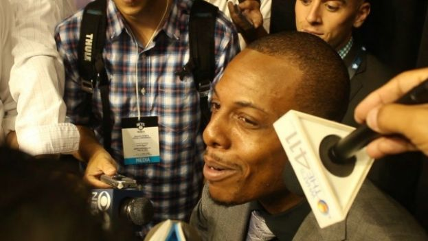 Brooklyn Nets Forward Paul Pierce speaking with the media