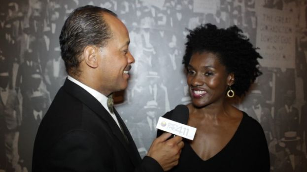 Andrew Rosario interviewing Constance C.R. White at New York Association of Black Journalists' fundraising gala