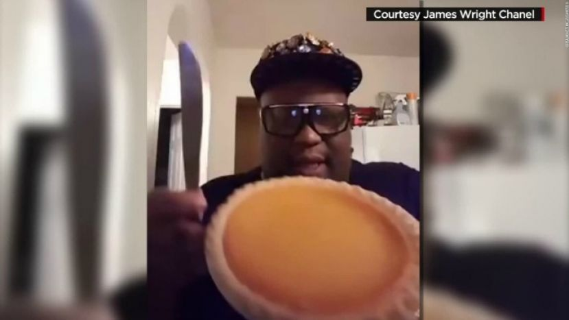 YouTube sensation, James Wright, holding a Patti Pie