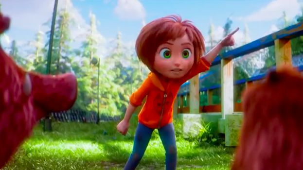 June Bailey, played by Brianna Denski, talking to animals in the computer animated adventure film, Wonder Park.